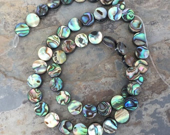 Abalone Disk Beads, Natural Abalone Beads, 8mm, 16 inch strand