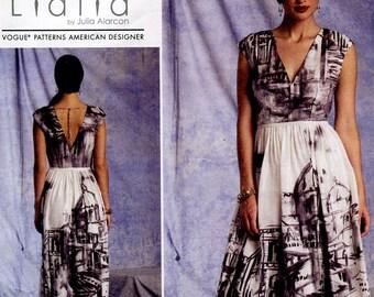 Lialia Vogue V1402 American Designer Misses Dress Sewing Pattern Deep Front & Back V  Size 6 to 14 OR 14 to 22 Uncut