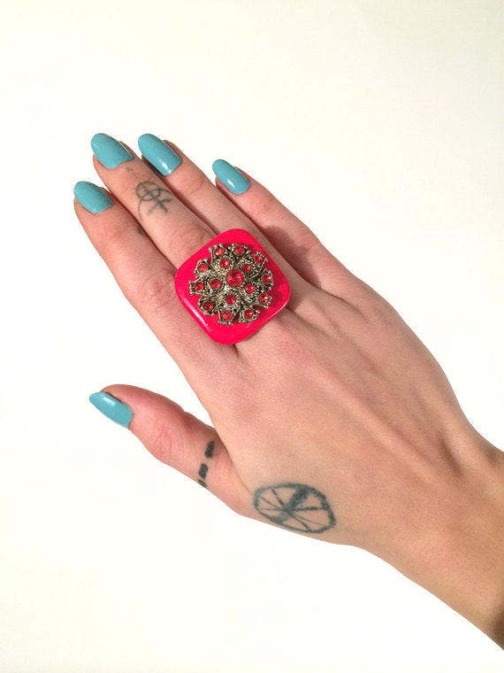 SALE Red Deco Gem Upcycled Ring // OSFA OOAK