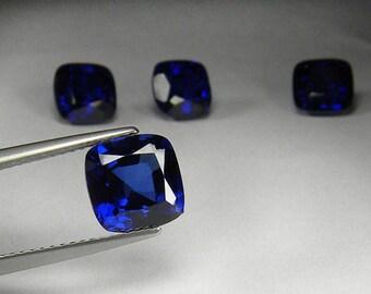 8x8 mm. Fine Cushion Facet Cut Cornflower Blue Sapphire Synthetic Corundum Unset loose gem