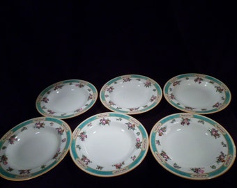 Set of Six Royal Doulton Porcelain Soup Bowls, Pattern E8785, 1920's-1960's