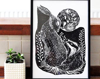 Badger & Hare - Block Print Linocut, Illustration, British Animals, Art Print 8x11 A4