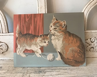Vintage Cat Paint by Number Picture - Paint by Numbers Kittens with Yarn