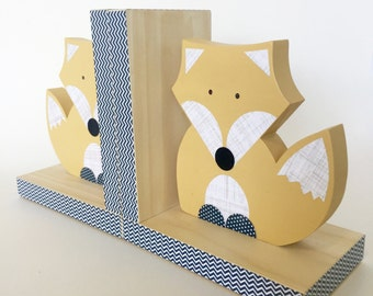 Fox Bookends, Mustard Yellow and Navy, Woodland Nursery, Woodland Kids Decor, Wood Bookends, Children's Bookends, Fox Nursery, Forest Themed