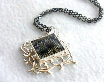 Black Circuit Board Recycled Pendant SN286