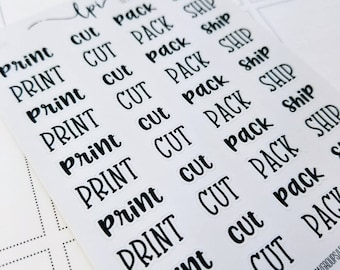 Print / Cut/ Pack /Ship - shop owners set  | monochrome script icons | Planner stickers | Stickers for Planners