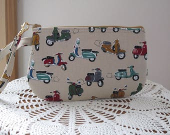 Scooter, Purse, Vespa Scooter  Clutch, Wristlet, Zipper Gadget Pouch, Smart Phone Bag, Small Camera Bag