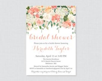 Peach Bridal Shower Invitation Printable or Printed - Peach, Cream, and Green Floral Bridal Shower Invites, Garden Bridal Shower Invite 0028