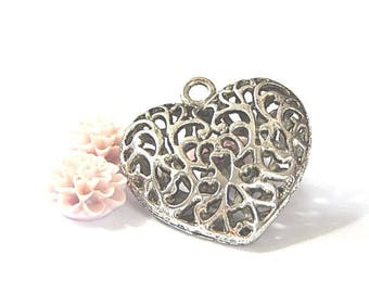 1 color 35x34mm silver openwork heart pendant