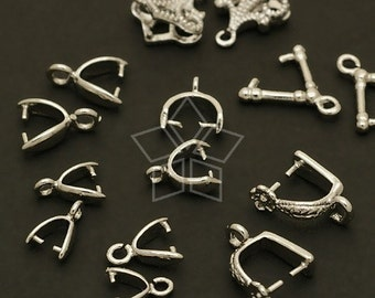 PS-A01-OR / 14 Pcs - Sampler(A) Pinch Bails for Crystal Pendants - Silver 7 pairs of various styles and sizes