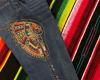 Indian Native American ladies Jeans Boho Hippy Size 4, 6, 8, 10, 12, 14