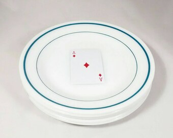Anchor Hocking Anchorware double blue band salad plates, 5 (five) plates