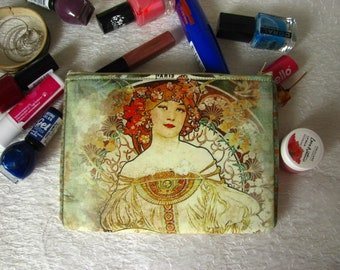 Zippered pouch with Mucha painting, makeup bag, phone case, purse