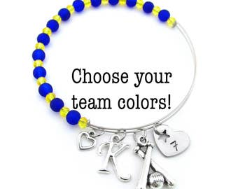 Softball Gifts, Softball Jewelry, Softball Bracelet, Softball Team Gifts, Softball Team Bracelet, Gifts for Softball, Softball Bangle
