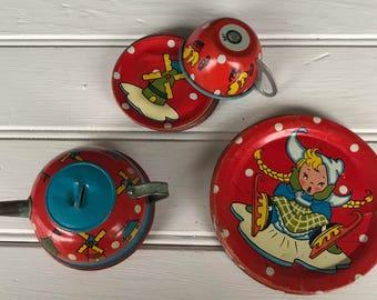 Vintage OHIO ART Red Polka Dot Tin Dishes - Sweet Little Teapot Too!
