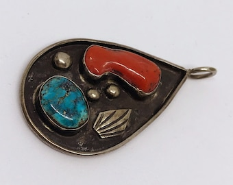 "Signed ""Sally Noah"" 1975 Sterling Silver Red Jasper and Turquoise Pendant"