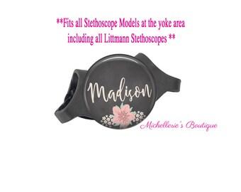 Stethoscope ID tag, Monogram Stethoscope Id Tag, Floral Chalkboard Personalized Stethoscope Id tag, Stethoscope Name Tag, MB343