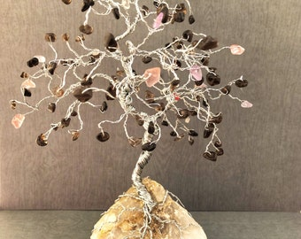 Large Quartz Gem Tree, Crystal Decor, Gemstone Trees, Tree of Life Art, Silver Wire Tree