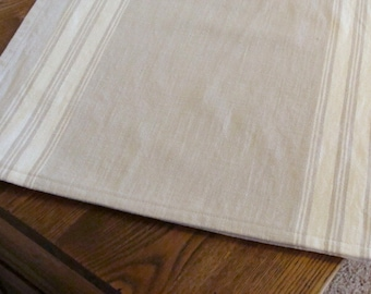 Striped Cotton Table Runner - Flax and Natural