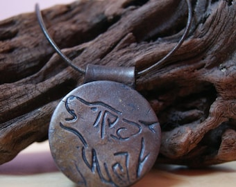 Mens necklace - men's pendant - Wolf pattern - imitation leather jewelry - polymer clay jewelry