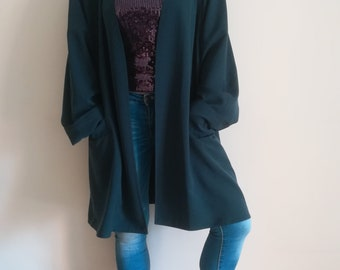 Woman Open SHRUG VINTAGE 90 OVERSIZE Shrug Made in Italy Teal Chunky Long Cardigan One Size