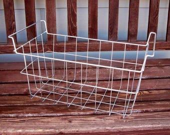 Vintage Wire Basket- Freezer Basket- Wire Crate- Garage Storage- Vintage Storage- Metal basket -Craft Storage- Industrial decor- 19 X 10