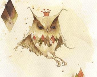 Owl Drawing Digital Print - Owl Art Giclee Print - Ink Drawing Art Print - Owl Painting Illustration Art - Ink Art - 'Owl of Diamonds'