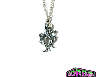 Creepy Octopus Style Sea Creature Monster Silver Tone Chain Necklace