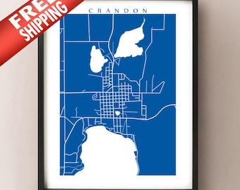 Crandon, WI Map Print - Wisconsin Poster