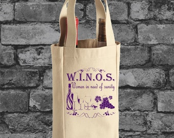 WINOS Women In Need of Sanity Wine Tote Bag Wine Bag Wine Bottle Tote Wine Bottle Bag