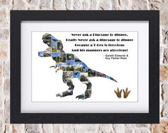 T-Rex Dinosaur Digital Wall Art Fine Art Collage