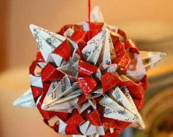 Origami Kusudama Asian Book Red Paper Spike Ball