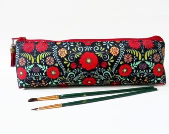 Art gifts, Folk print, pencil pouch, brush bag, art gift, student gift, teacher gift, folky, folk florals.