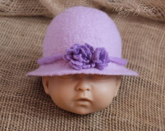 RTS Felted newborn hat, lavender brim flower newborn hat photography props