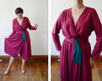 1970s Fuchsia Wrap Dress - M/L