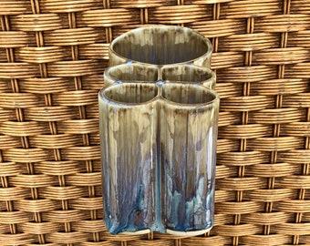Handmade Pottery Quad Toothbrush / Utensil Holder - Gold, Purple Glaze - Bathroom