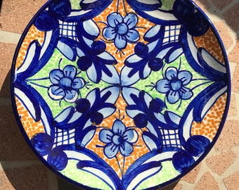 Talavera Mexican ceramic plate 7 inch round platter Mexican pottery Southwest style  sc 1 st  Etsy & Mexican style plates   Etsy