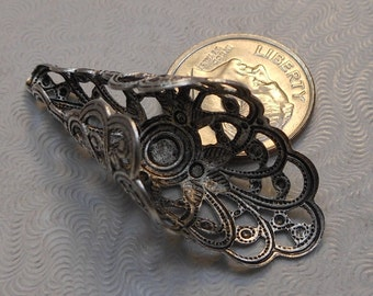 LuxeOrnaments Large Oxidized Sterling Silver Plated Brass Filigree Bead Cap 39x16mm (1 pc) SG-5424-S
