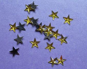 10 glitter rhinestone diamond yellow gold star
