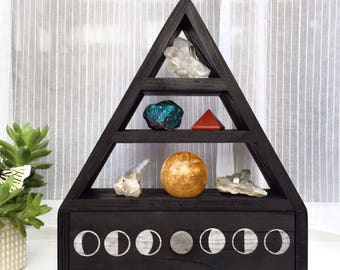Moon Phase crystal shelf with drawer