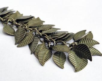 Brass leaves - destash - 200 leaves - brass leaf charm - brass findings - metal leaves - 14mm leaf - bulk supplies - craft supplies