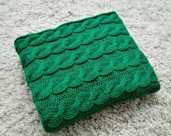 Knitted Baby blanket Green Wool baby Blanket Baby boy blanket Knit baby blanket Cute blanket Baby girl Blanket Stroller Blanket