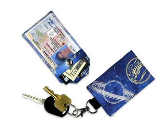 Space Galaxy Star Saturn Moon Blue Small Wallet Card Holder Keychain Clear ID Holder Small Wallet Student ID Badge Credit Card Mini Wallet