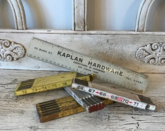 Lot of 5  with 4  Vintage Wooden Folding Rulers - Zig Zag Ruler Lot plus advertising hardware store ruler