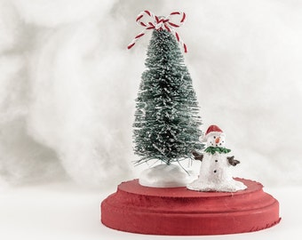 Candy Stripe Bow Small Snowman Holiday Scene Decoration Christmas Tree Tabletop Mantle Decor Red and White Bottlebrush
