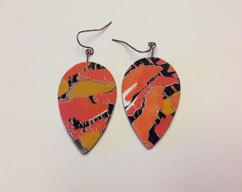 Orange und Gold-collage-Ohrringe