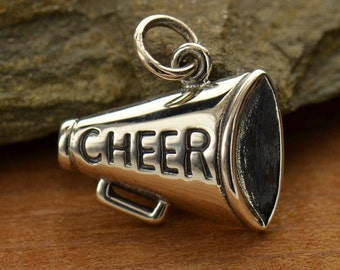 Sterling Silver Cheer Megaphone Fitness Jewelry -Cheerleader -Sports