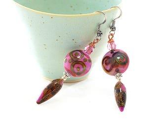 Fuschia Glass Bead Earrings. Long Boho Tribal Earrings. Artisan Headpins. Gifts For Her. Lampwork Glass Bead Jewelry.