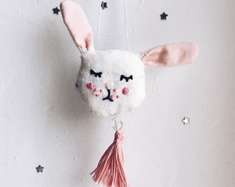 Brooch Bunny Embroidery Handmade Soft Toy