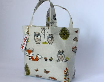 Woodland Animals Oilcloth Lunch Bag with Personalised Name Tag